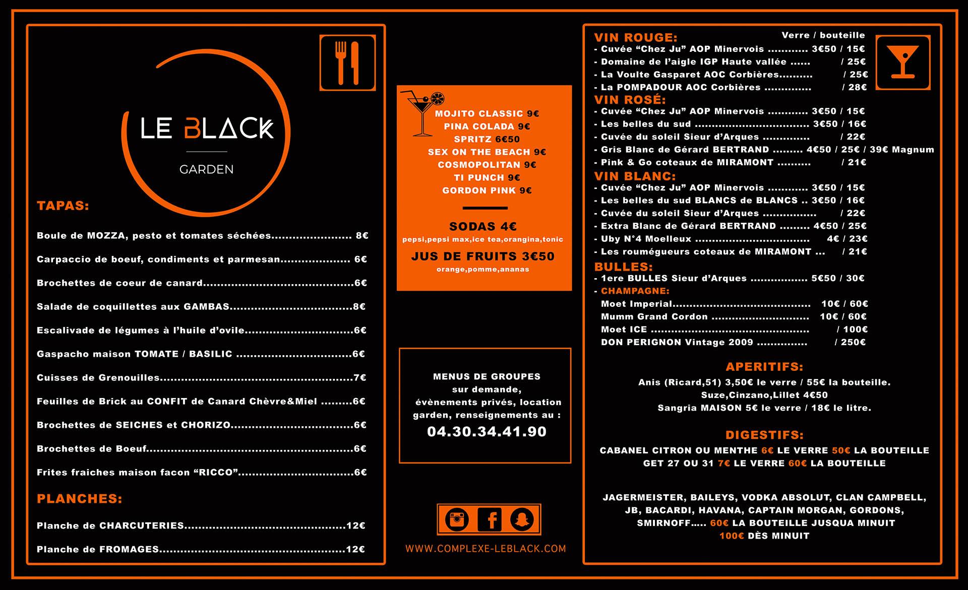 La carte Le Black Garden